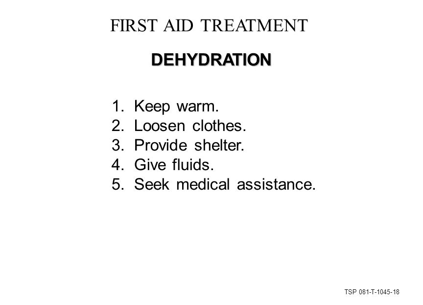 TSP 081-T-1045-18 FIRST AID TREATMENT DEHYDRATION 1.