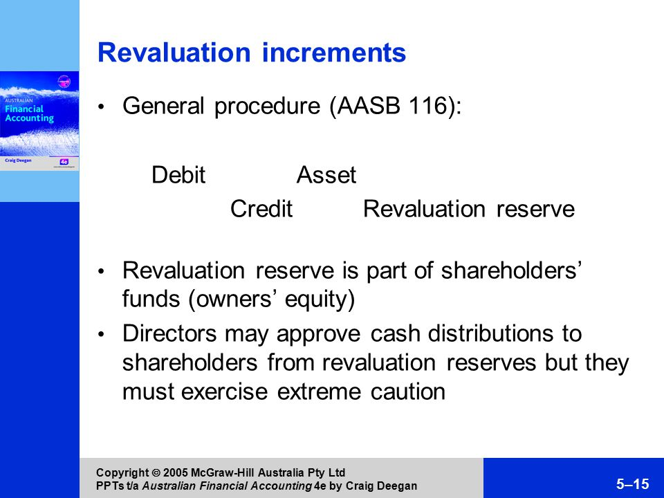 Copyright  2005 McGraw-Hill Australia Pty Ltd PPTs t/a Australian Financial Accounting 4e by Craig Deegan 5–15 Revaluation increments General procedure (AASB 116): Debit Asset Credit Revaluation reserve Revaluation reserve is part of shareholders' funds (owners' equity) Directors may approve cash distributions to shareholders from revaluation reserves but they must exercise extreme caution