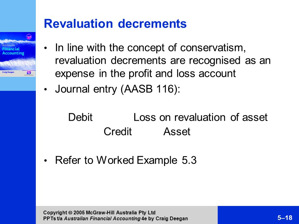 Copyright  2005 McGraw-Hill Australia Pty Ltd PPTs t/a Australian Financial Accounting 4e by Craig Deegan 5–18 Revaluation decrements In line with the concept of conservatism, revaluation decrements are recognised as an expense in the profit and loss account Journal entry (AASB 116): Debit Loss on revaluation of asset Credit Asset Refer to Worked Example 5.3