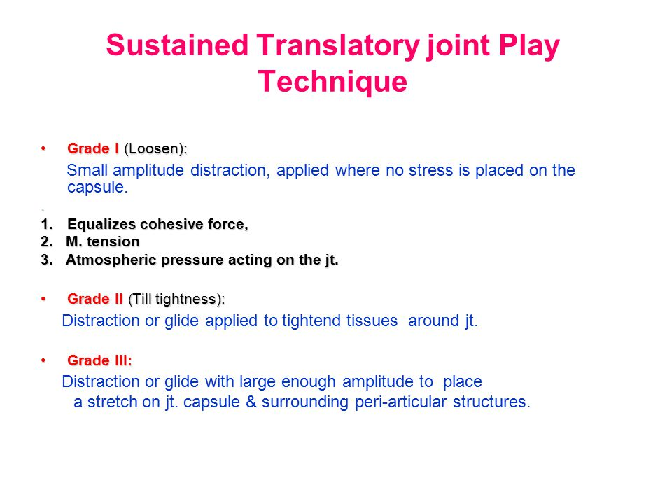 Sustained Translatory joint Play Technique Grade I (Loosen):Grade I (Loosen): Small amplitude distraction, applied where no stress is placed on the ca