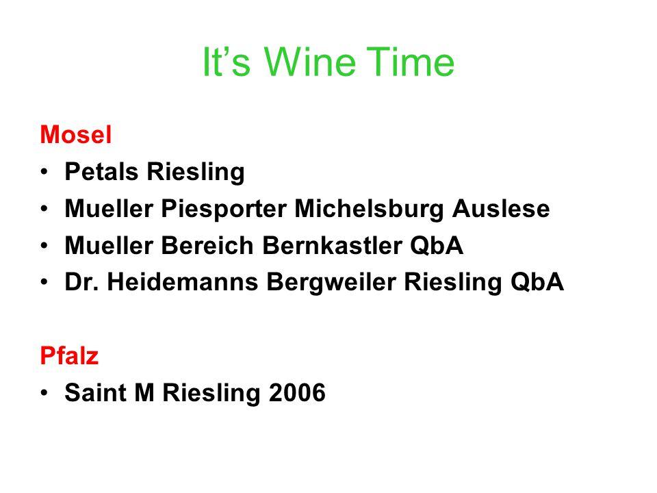 It's Wine Time Mosel Petals Riesling Mueller Piesporter Michelsburg Auslese Mueller Bereich Bernkastler QbA Dr.