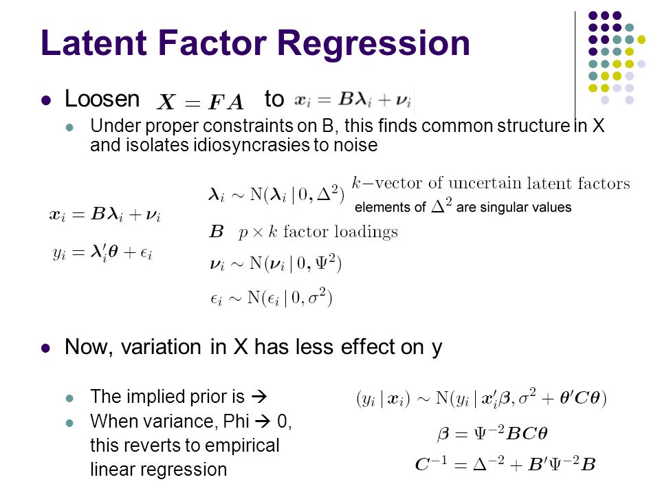 Latent Factor Regression Loosen to Under proper constraints on B, this finds common structure in X and isolates idiosyncrasies to noise Now, variation in X has less effect on y The implied prior is  When variance, Phi  0, this reverts to empirical linear regression