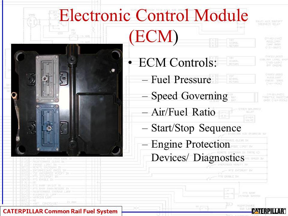 CATERPILLAR Common Rail Fuel System Electronic Control Module (ECM) ECM Controls: –Fuel Pressure –Speed Governing –Air/Fuel Ratio –Start/Stop Sequence