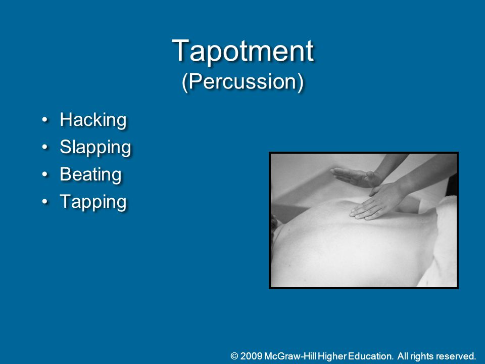 © 2009 McGraw-Hill Higher Education. All rights reserved. Tapotment (Percussion) Hacking Slapping Beating Tapping Hacking Slapping Beating Tapping
