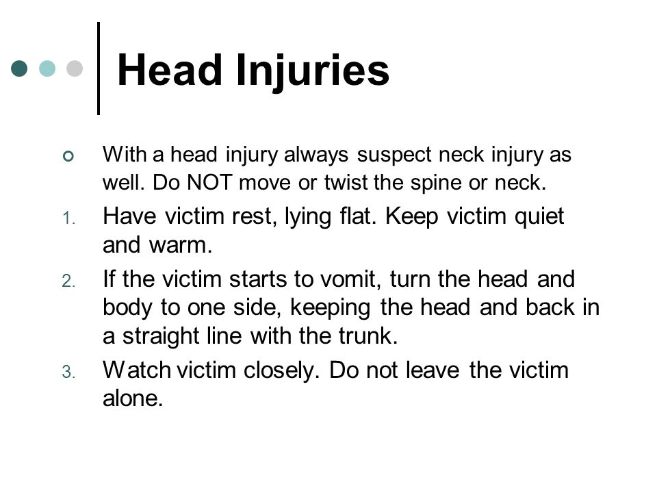 Head injuries continued… 4.