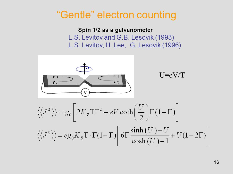 16 Gentle electron counting Spin 1/2 as a galvanometer Spin 1/2 as a galvanometer L.S.