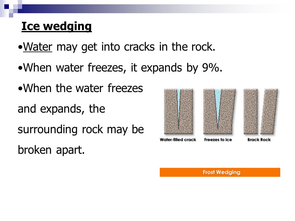 Expands Ice wedging Water may get into cracks in the rock. When water freezes, it expands by 9%. When the water freezes and expands, the surrounding r