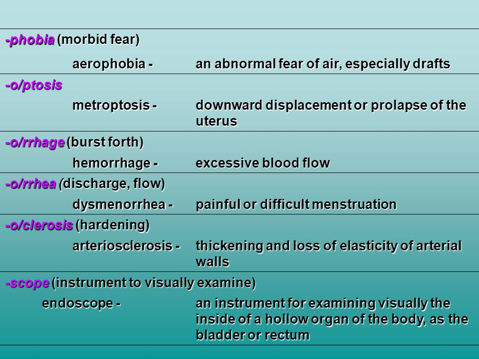-phobia (morbid fear) aerophobia - an abnormal fear of air, especially drafts -o/ptosis metroptosis - downward displacement or prolapse of the uterus