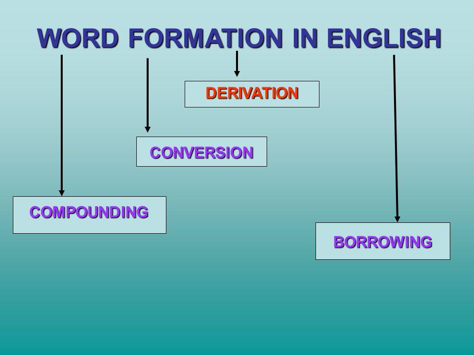 DERIVATION AFFIXATION AFFIXES SUFFIXES PREFIXES COMBININGWORD ROOT (STEM)
