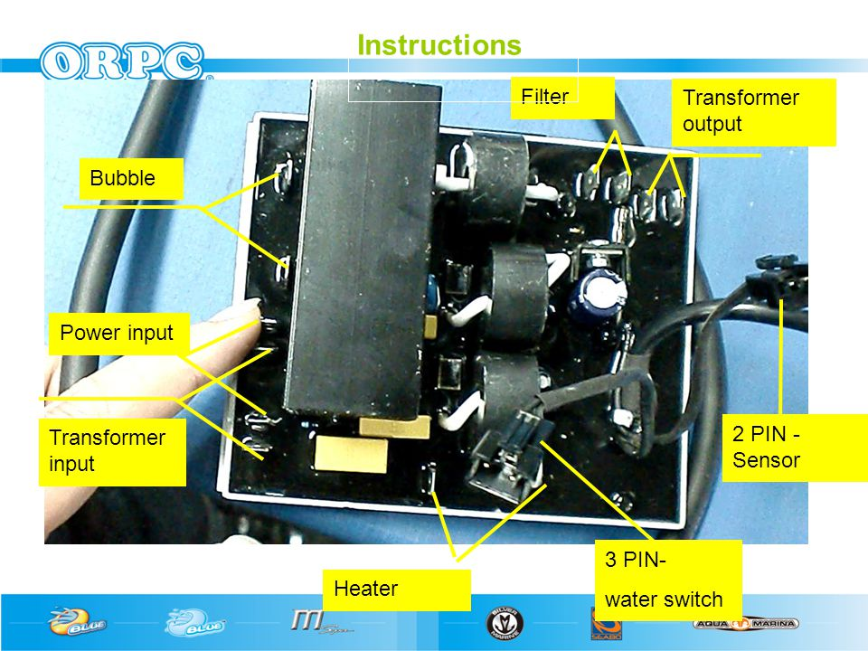 Bubble Power input Transformer input Heater Filter Transformer output 3 PIN- water switch 2 PIN - Sensor Instructions