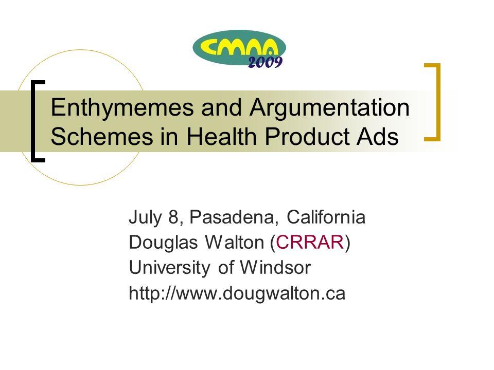 Enthymemes and Argumentation Schemes in Health Product Ads July 8, Pasadena, California Douglas Walton (CRRAR) University of Windsor http://www.dougwalton.ca