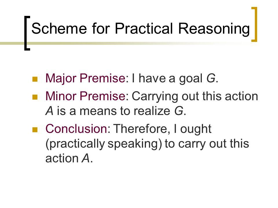 Scheme for Practical Reasoning Major Premise: I have a goal G.