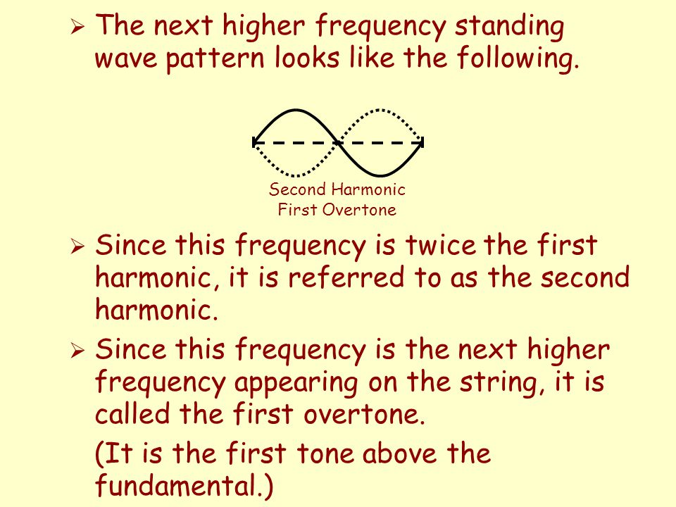  Since this frequency is twice the first harmonic, it is referred to as the second harmonic.