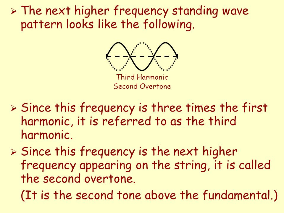  In the experiment today you will adjust the tension in a vibrating string so that you create different standing wave patterns.