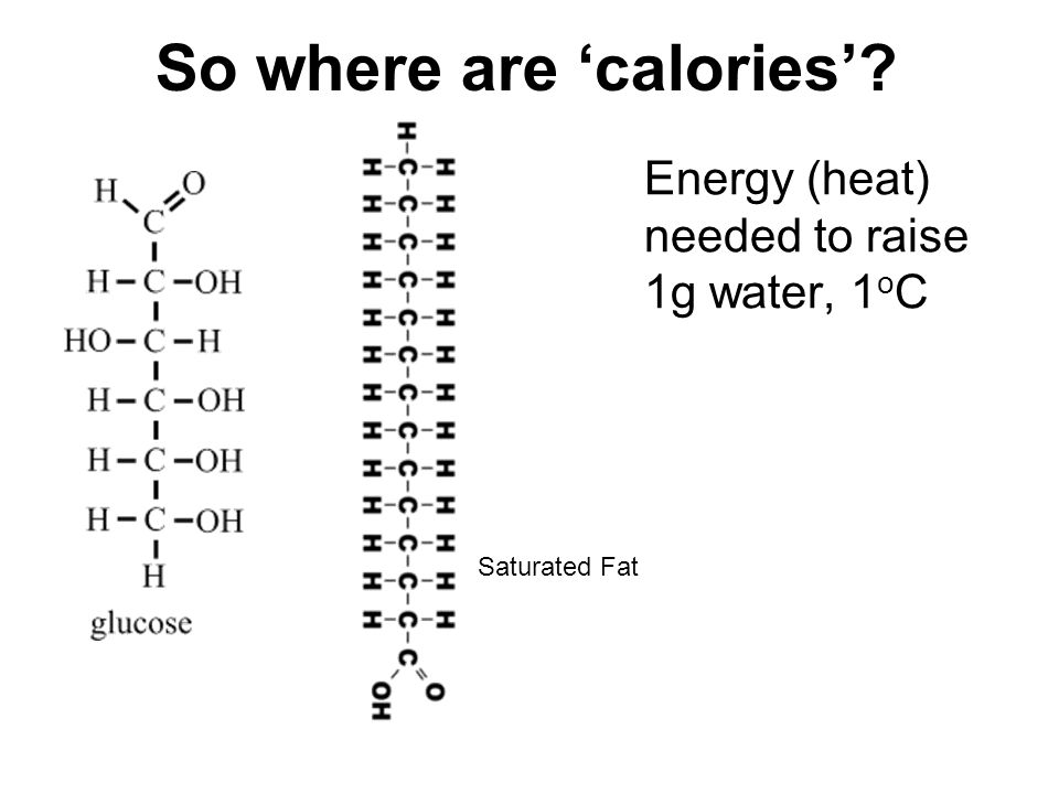 So where are 'calories'? Energy (heat) needed to raise 1g water, 1 o C Saturated Fat