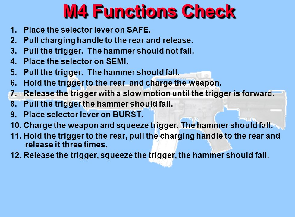 M4 Functions Check 1. Place the selector lever on SAFE. 2. Pull charging handle to the rear and release. 3. Pull the trigger. The hammer should not fa