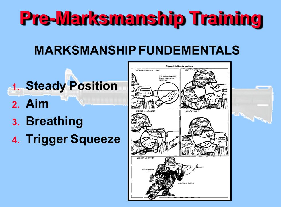Pre-Marksmanship Training MARKSMANSHIP FUNDEMENTALS 1. Steady Position 2. Aim 3. Breathing 4. Trigger Squeeze