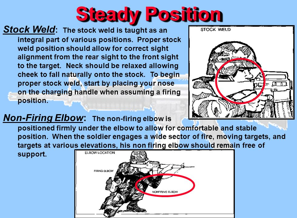 Steady Position Stock Weld : The stock weld is taught as an integral part of various positions. Proper stock weld position should allow for correct si