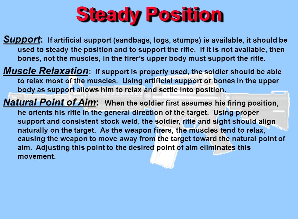 Steady Position Support : If artificial support (sandbags, logs, stumps) is available, it should be used to steady the position and to support the rif