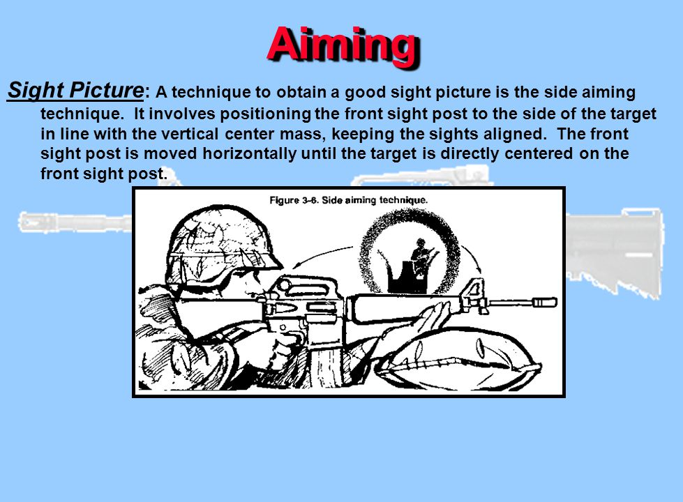 AimingAiming Sight Picture : A technique to obtain a good sight picture is the side aiming technique. It involves positioning the front sight post to