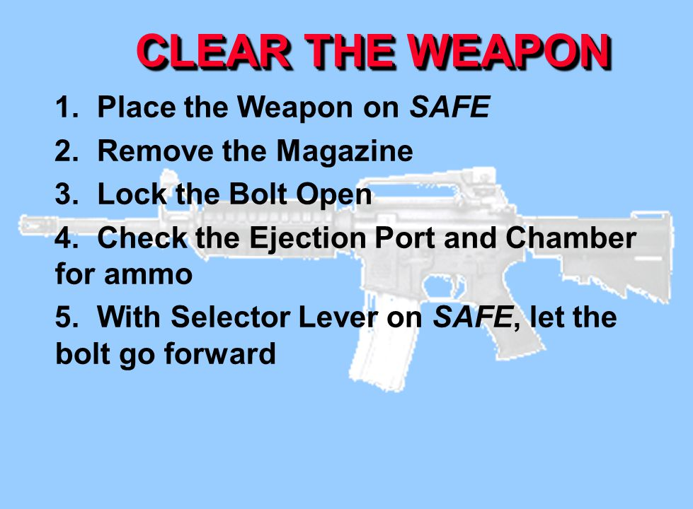 CLEAR THE WEAPON 1. Place the Weapon on SAFE 2. Remove the Magazine 3. Lock the Bolt Open 4. Check the Ejection Port and Chamber for ammo 5. With Sele