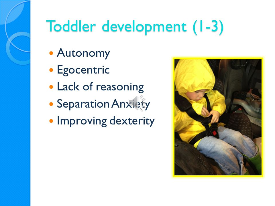 Toddler development (1-3) Autonomy Egocentric Lack of reasoning Separation Anxiety Improving dexterity