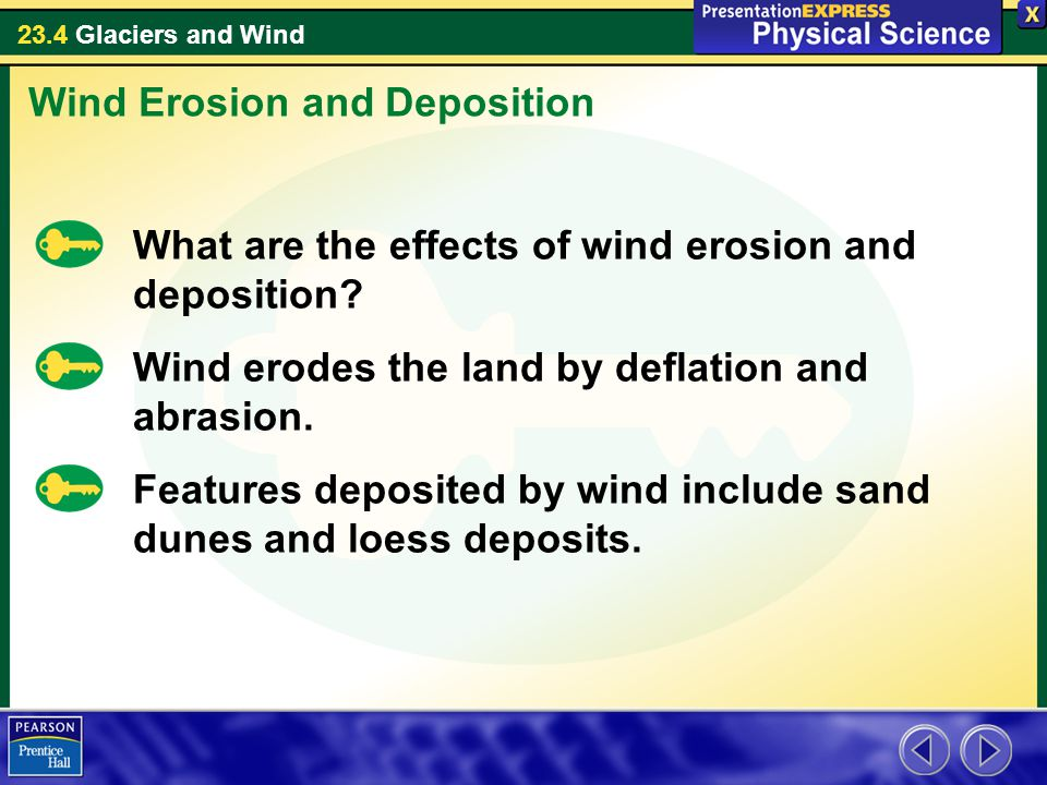23.4 Glaciers and Wind What are the effects of wind erosion and deposition.