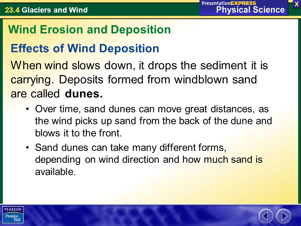 23.4 Glaciers and Wind Effects of Wind Deposition When wind slows down, it drops the sediment it is carrying.