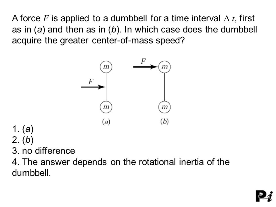 A force F is applied to a dumbbell for a time interval  t, first as in (a) and then as in (b). In which case does the dumbbell acquire the greater c