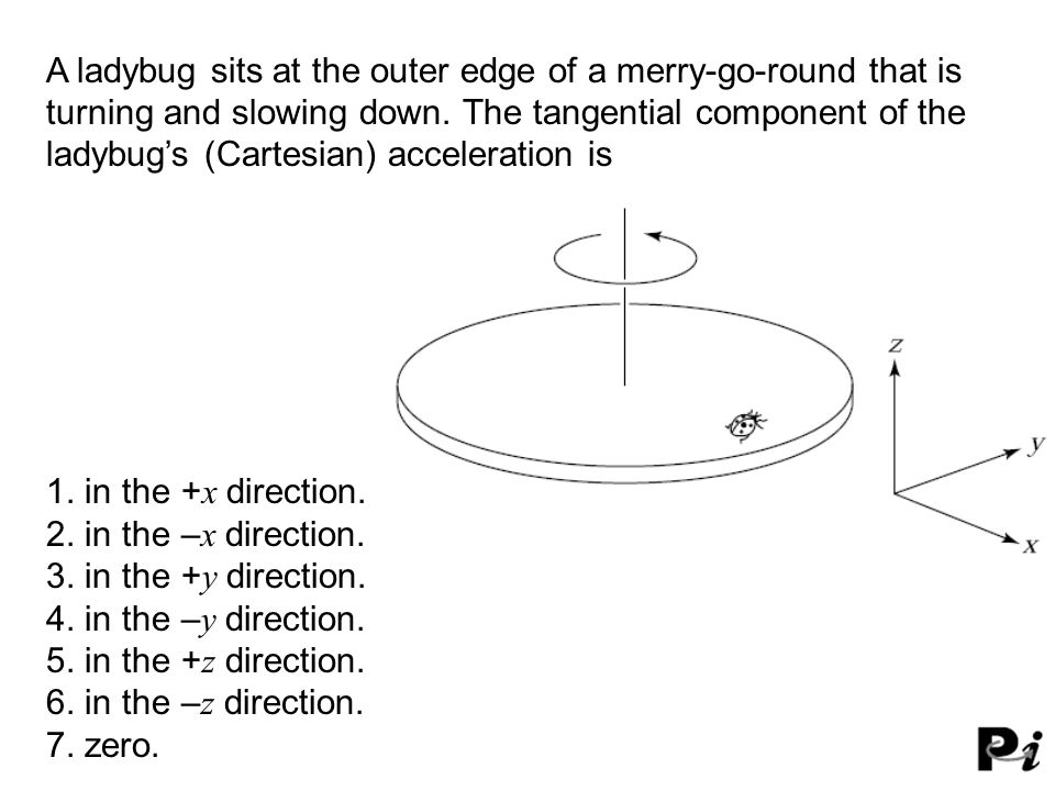 A ladybug sits at the outer edge of a merry-go-round that is turning and slowing down. The tangential component of the ladybug's (Cartesian) accelerat