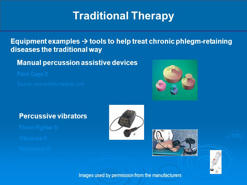 Equipment examples  tools to help treat chronic phlegm-retaining diseases the traditional way Traditional Therapy Percussive vibrators Flimm Fighter