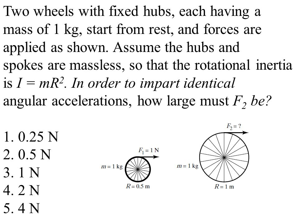 Two wheels with fixed hubs, each having a mass of 1 kg, start from rest, and forces are applied as shown.