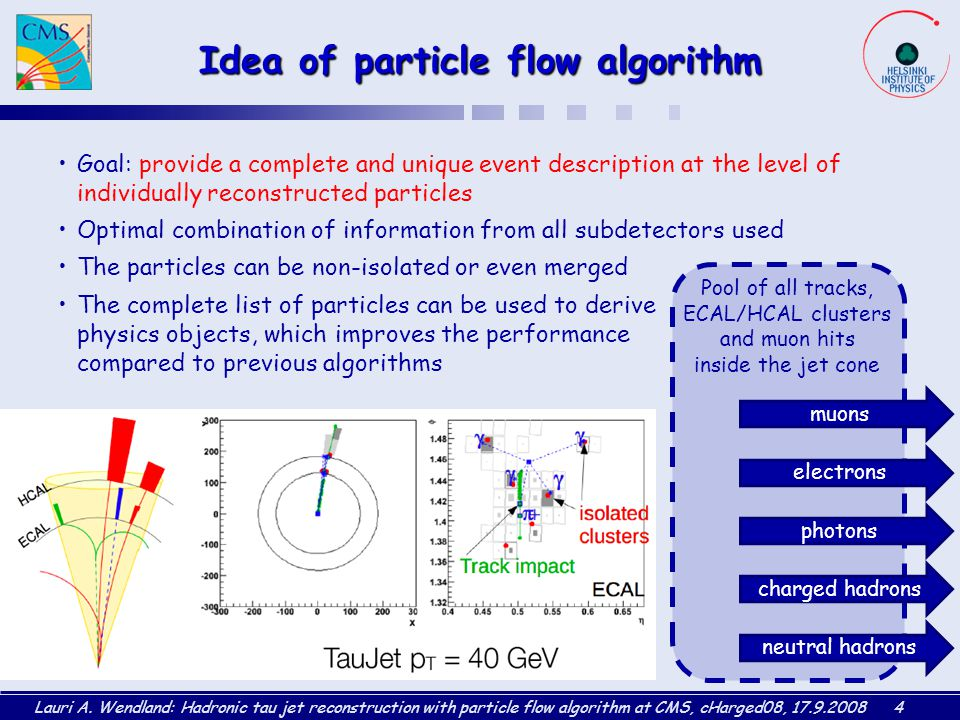 Lauri A. Wendland: Hadronic tau jet reconstruction with particle flow algorithm at CMS, cHarged08, 17.9.20084 Idea of particle flow algorithm Goal: pr
