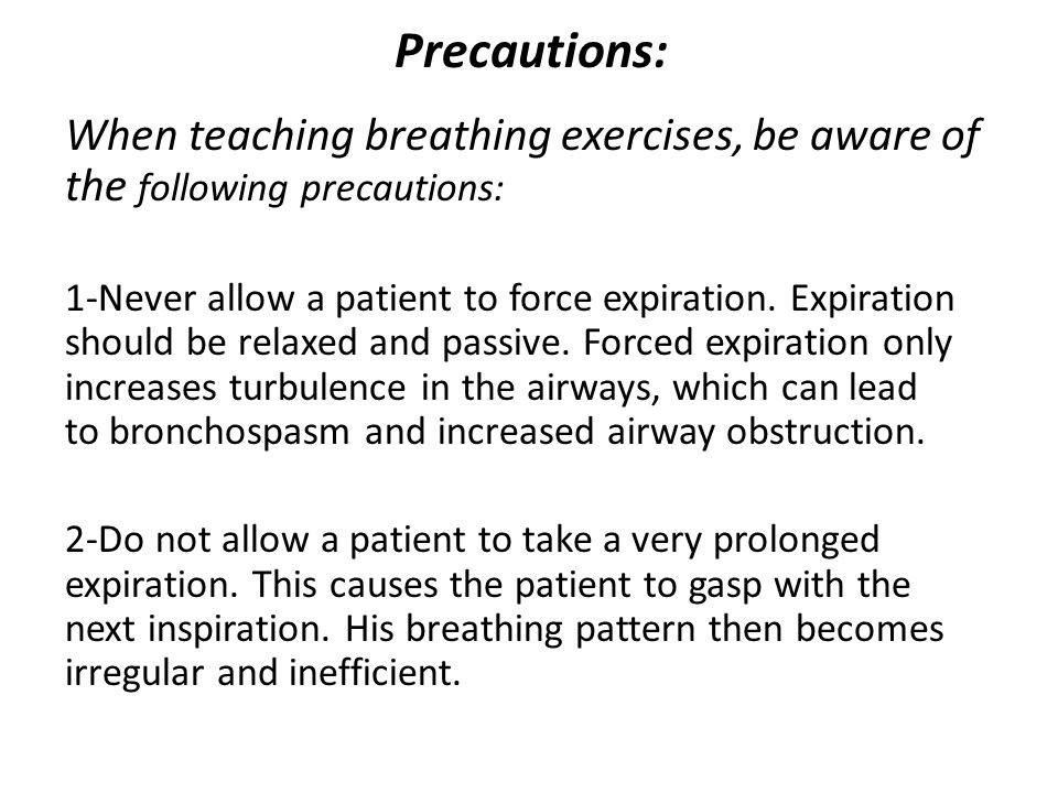 IV.Exercises connected with respiration: This can give: mobilizing, strengthening and/or stretching exercise connected with respiration (expiration and/or inspiration).