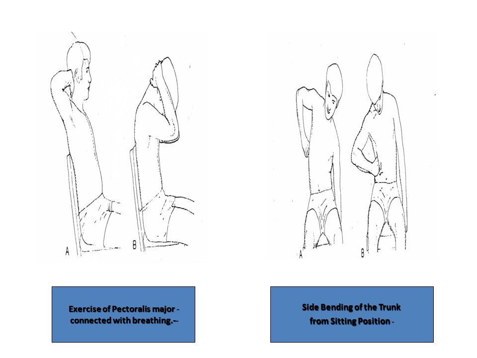 -Exercise of Pectoralis major -connected with breathing.- Side Bending of the Trunk from Sitting Position -