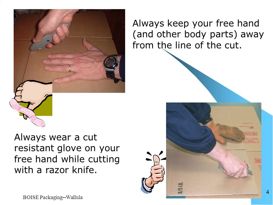 BOISE Packaging--Wallula 4 Always keep your free hand (and other body parts) away from the line of the cut. Always wear a cut resistant glove on your