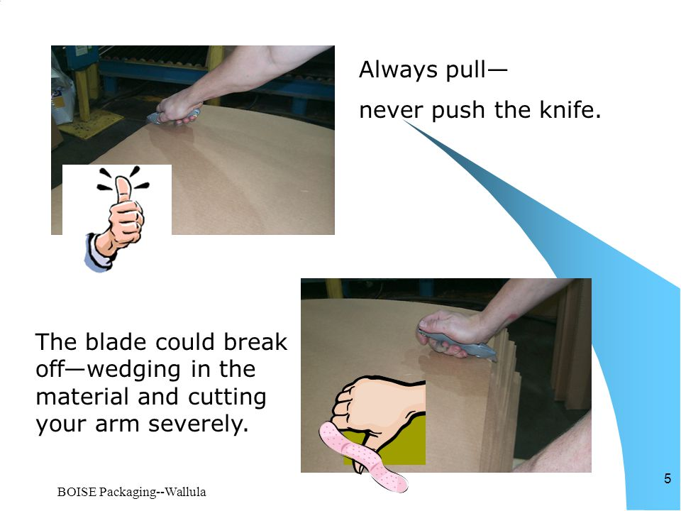 BOISE Packaging--Wallula 5 Always pull— never push the knife. The blade could break off—wedging in the material and cutting your arm severely.