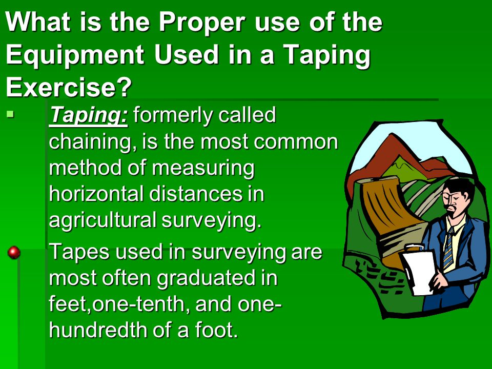 What is the Proper use of the Equipment Used in a Taping Exercise.