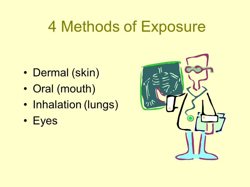 4 Methods of Exposure Dermal (skin) Oral (mouth) Inhalation (lungs) Eyes