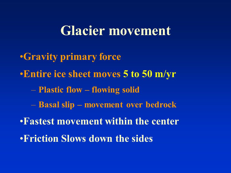 Causes of Glaciation Full Reasoning is not known Theory of Glaciation needs to include: –Interglacial periods – periods of warm climate separating periods of glacial advancements.
