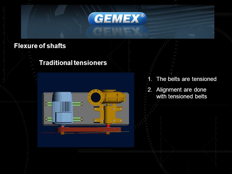 Flexure of shafts Traditional tensioners 1.The belts are tensioned 2.Alignment are done with tensioned belts