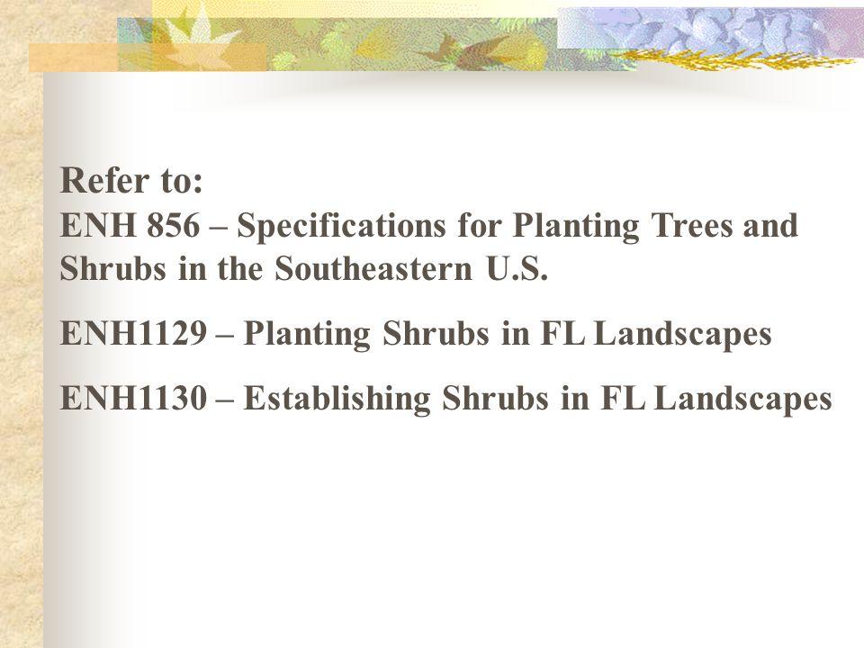 Refer to: ENH 856 – Specifications for Planting Trees and Shrubs in the Southeastern U.S. ENH1129 – Planting Shrubs in FL Landscapes ENH1130 – Establi