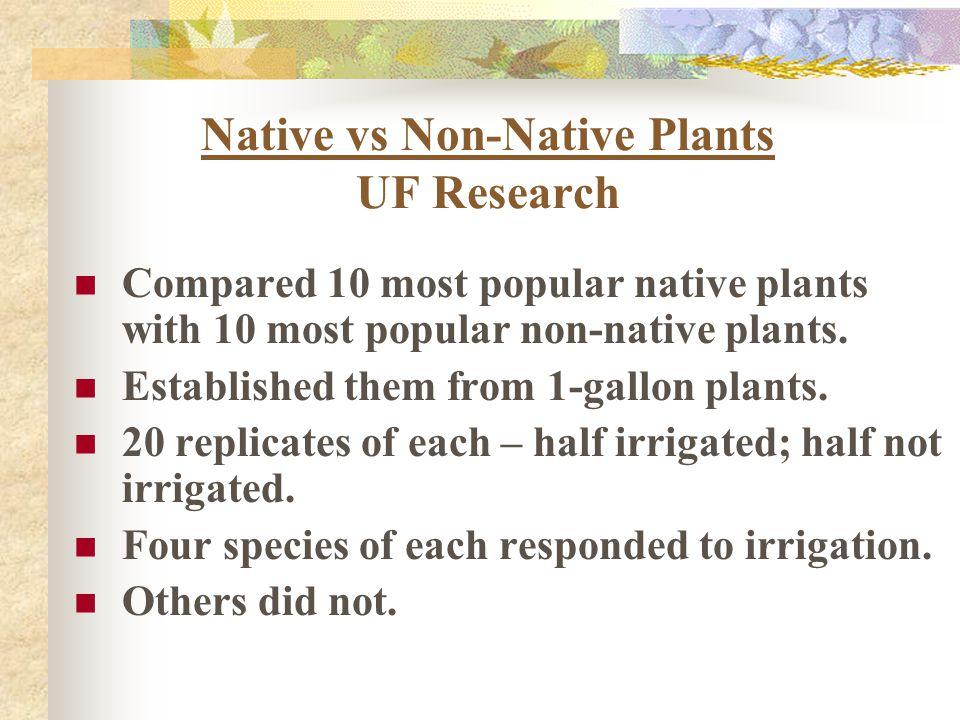 Native vs Non-Native Plants UF Research Compared 10 most popular native plants with 10 most popular non-native plants. Established them from 1-gallon
