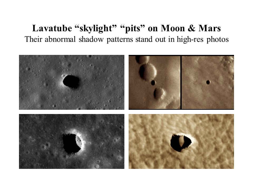 "Lavatube ""skylight"" ""pits"" on Moon & Mars Their abnormal shadow patterns stand out in high-res photos"