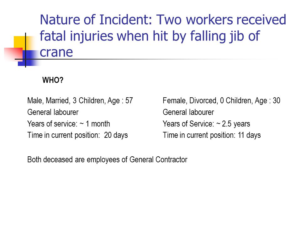 Nature of Incident: Two workers received fatal injuries when hit by falling jib of crane WHO.