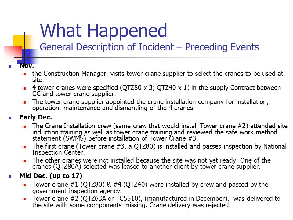 What Happened General Description of Incident – Preceding Events Nov.