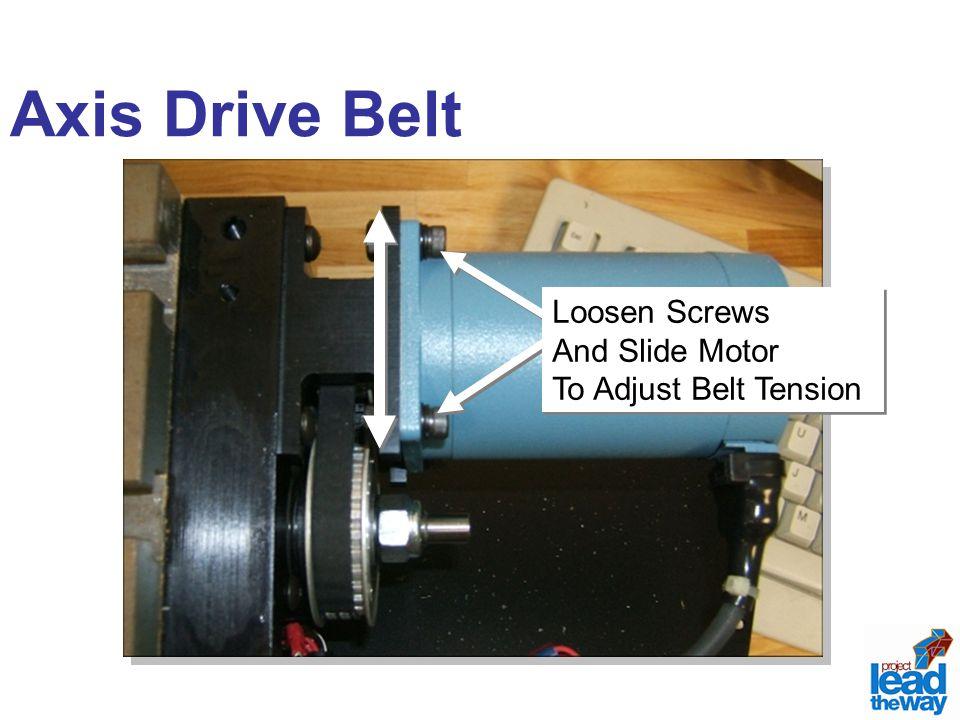 Axis Drive Belt Loosen Screws And Slide Motor To Adjust Belt Tension Loosen Screws And Slide Motor To Adjust Belt Tension