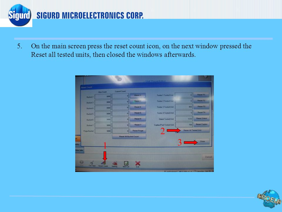 4.On the main screen press NEW LOT then key-in the Sigurd lot number using the on-board keyboard. Afterwards press OK to return to normal screen, the