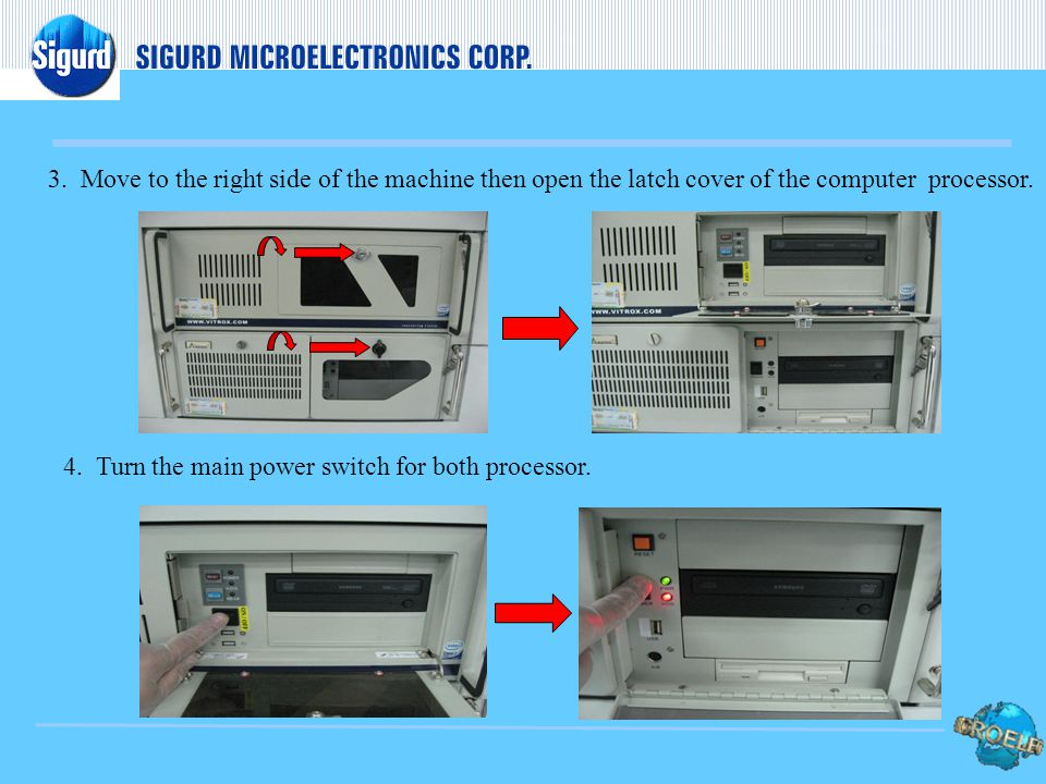 4.Turn the main power switch for both processor. 3.