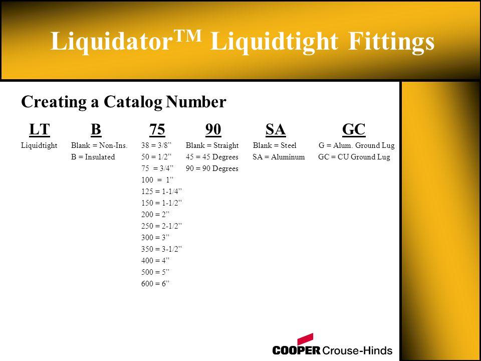 LT B 75 90 SA GC Liquidtight Blank = Non-Ins. 38 = 3/8 Blank = Straight Blank = Steel G = Alum.